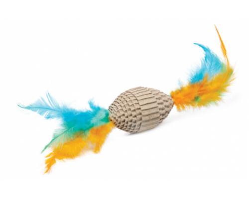 """Игрушка NATURAL для кошек из гофрокартона """"Мяч для регби с перьями"""", 60/190мм"""