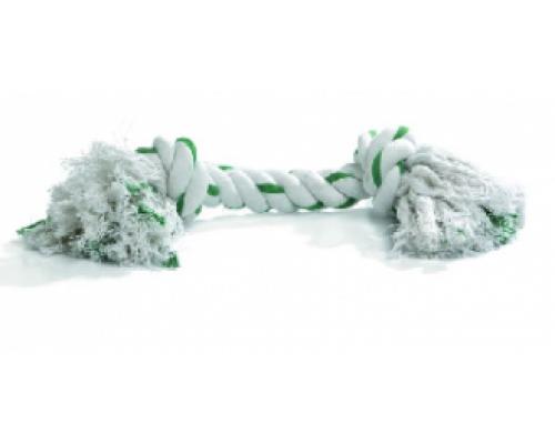 """Beeztees Игрушка для собак """"Канат с 2-мя узлами"""" мятный вкус, бело/зеленый, 50г*20см"""