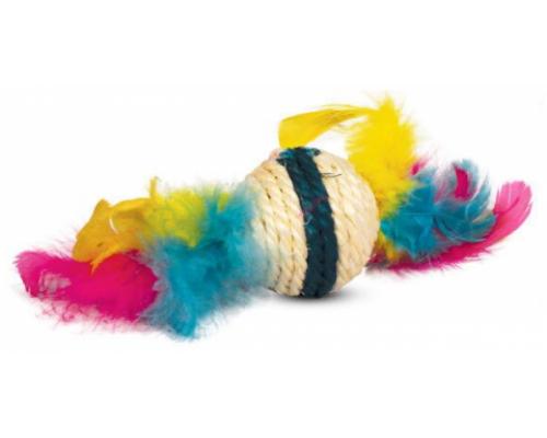 """TRIOL Игрушка для кошек из сизаля """"Шарик с перьями"""", d50/90мм"""