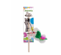 ГРЫЗЛИК АМ Дразнилка-удочка Мышка мех с перьями 5х2,5см, 50см дерево