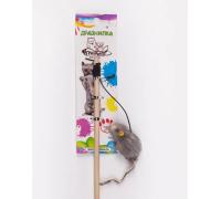 ГРЫЗЛИК АМ Дразнилка-удочка Мышка мех 5x2см, 50 см дерево