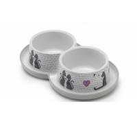 Moderna нескользящая миска с защитой от муравьев Trendy - Влюбленные коты, 350 мл