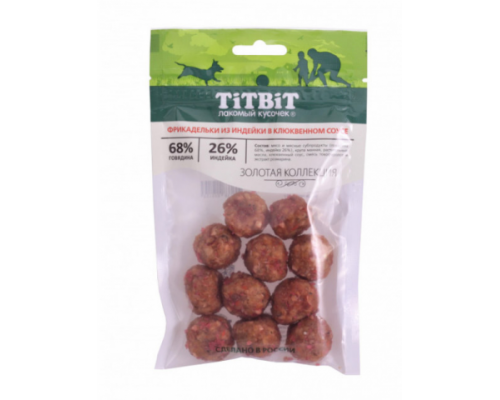 TiTBiT Золотая коллекция Фрикадельки из индейки в клюквенном соусе для собак 70 г
