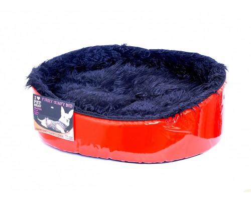 """Мягкий лежак """"Красный лак"""" 51*41*15, средний (BED Red/Black Furry, medium)"""