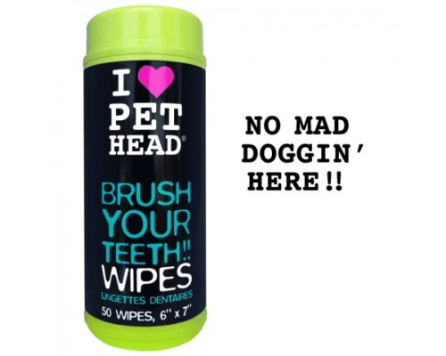 """PET HEAD Салфетки для собак """"Голливудская улыбка"""" для чистки зубов и от неприятного дыхания, без сульфатов и парабенов, 50 шт.(BRUSH YOUR TEETH!!)"""