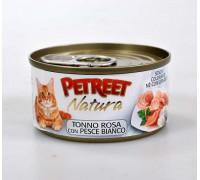 PETREET Pink tuna with White Fish консервы для кошек кусочки розового тунца с рыбой дорада 70 г