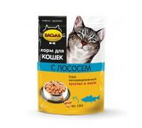 ВАСЬКА пауч для кошек Лосось кусочки в желе 100 г